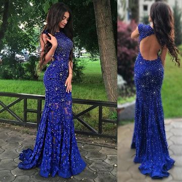 Royal Blue Long Party Dresses 2019 Mermaid Sleeveless Lace For Short Girls