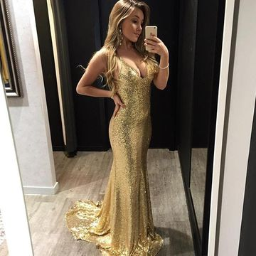 /Prom/Party Gold Sexy Sequins Evening/Pageant Dresses 2018