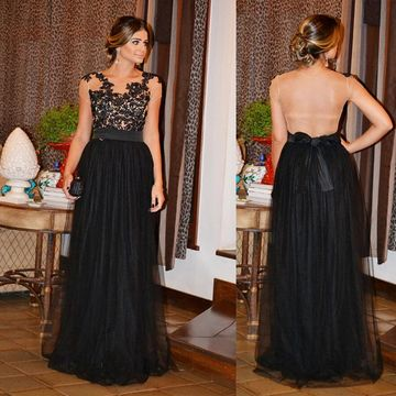 Black Long Party Dresses 2018 A-line Open Back For Short Girls