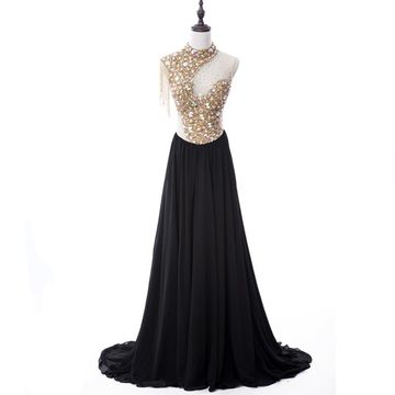 Long Black A-line Sleeveless Zipper Beading Prom Dresses 2019 Chiffon For Short Girls