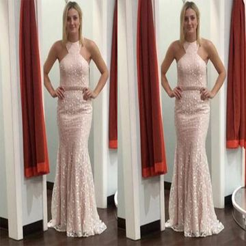Pearl Pink Long Dresses 2018 Mermaid Sleeveless Lace Sexy For Short Girls