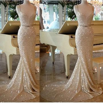 Gold Sequin Long Prom Dresses 2018 Mermaid Sleeveless For Short Girls