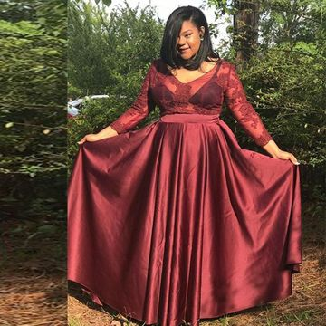 Burgundy Long Prom Dresses 2018 A-line V-Neck Long Sleeves Plus Size