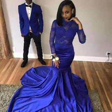 Mermaid Long Sleeves Zipper Appliques Prom Dresses 2018