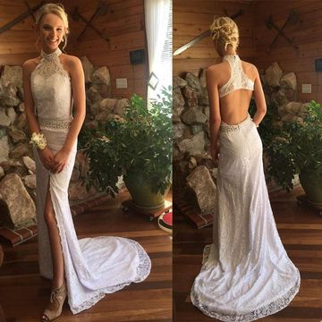 Long Junior White Mermaid Halter Sleeveless Zipper Beading Prom Dresses 2018 Open Back Lace Sexy