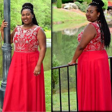 Long Plus Size Junior Red A-line Sleeveless Zipper Beading Prom Dresses 2018 Chiffon