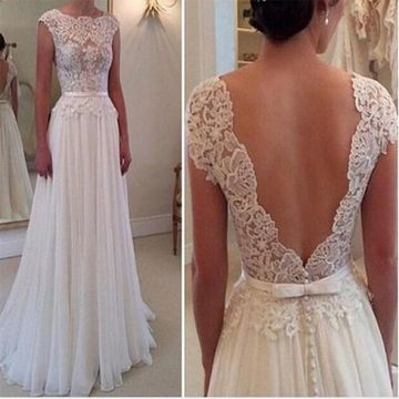 Long White A-line Capped Sleeves Zipper Buttons Prom Dresses 2018 Chiffon Lace For Short Girls