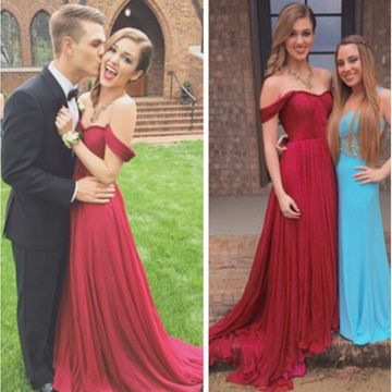 Long Red A-line Short Sleeves Zipper Prom Dresses 2018 For Short Girls
