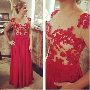 Long Red A-line Capped Sleeves Zipper Appliques Prom Dresses 2018 Chiffon For Short Girls