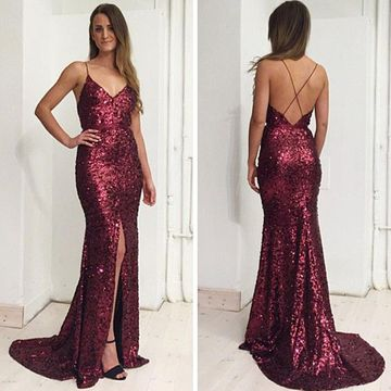 49%OFF Long Burgundy Mermaid Spaghetti Straps Sleeveless Backless ...