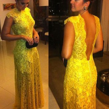 Long Elegant Yellow Sheath High Neck Capped Sleeves Backless Appliques Prom Dresses 2018 Open Back Lace