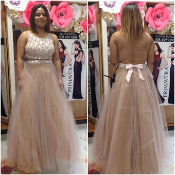 Long Plus Size Junior Beige/Champagne A-line Sleeveless Zipper Sash/Ribbon Prom Dresses 2018 Open Back Sexy Two Piece
