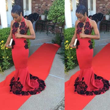 Long African Red Mermaid Halter Sleeveless Zipper Appliques Prom Dresses 2018 Sexy For Short Girls