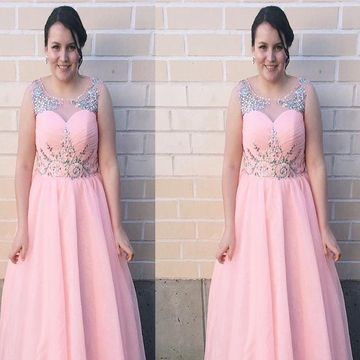 Long Plus Size Junior Pink Sheath Sleeveless Zipper Crystal Detailing Prom Dresses 2018 A-line Chiffon