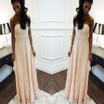 Long African Beige/Champagne A-line Sweetheart Sleeveless Zipper Prom Dresses 2018 Lace