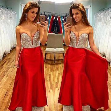 Long Junior Red Mermaid Sweetheart Sleeveless Zipper Sequins Prom Dresses 2018 Sexy For Short Girls