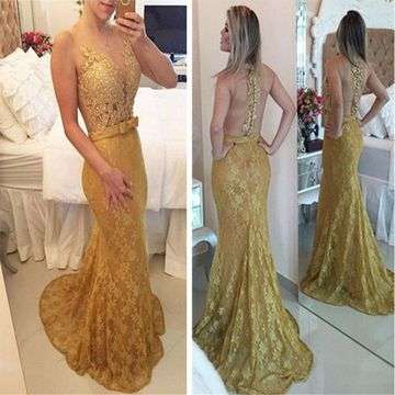 Gold Lace/Formal/Prom Dresses 2018 Mermaid Evening/Pageant