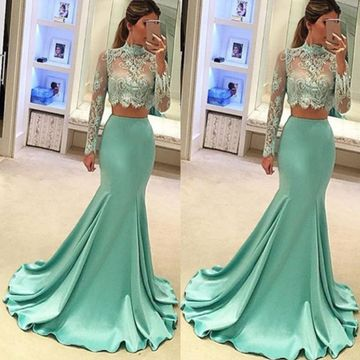 Junior Mermaid High Neck Long Sleeves Zipper Appliques Prom Dresses 2018 Sexy For Short Girls Two Piece