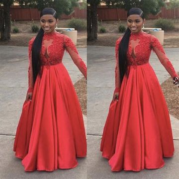Junior Red A-line High Neck Long Sleeves Zipper Appliques Prom Dresses 2018 Sexy