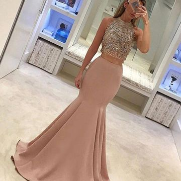 Long Junior Mermaid High Neck Sleeveless Zipper Beading Prom Dresses 2018 Sexy For Short Girls Two Piece