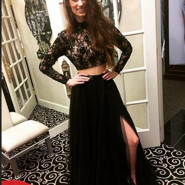 Junior Black A-line High Neck Long Sleeves Zipper Beading Prom Dresses 2018 Lace