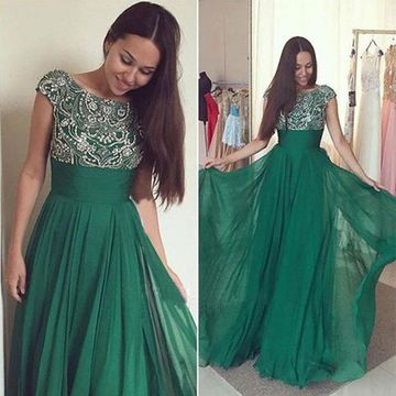 Long A-line Capped Sleeves Zipper Beading Prom Dresses 2018 Chiffon