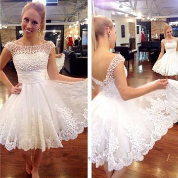 White A-line Short Sleeves Zipper Beading Prom Dresses 2018 Lace