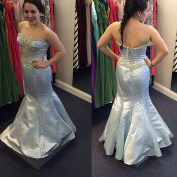 Long Junior Silver Mermaid Strapless Sleeveless Zipper Appliques Prom Dresses 2018 Sexy