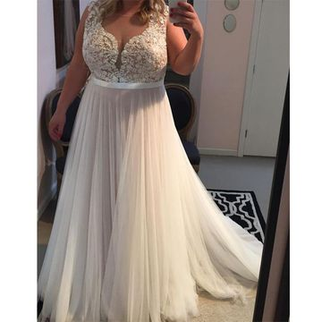 Long Plus Size Sexy A-line Straps Sleeveless Zipper Prom Dresses 2018 V-Neck