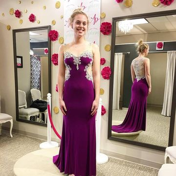 49off Long Junior Purple Sheath Straps Sleeveless Zipper Appliques