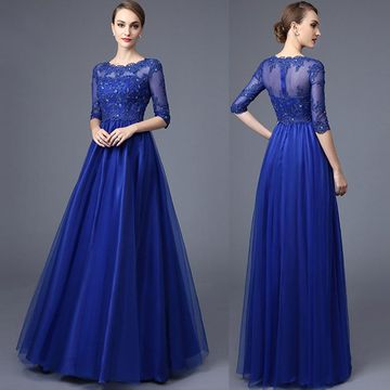 Cheap Long Modest A-line Half Sleeves Zipper Appliques Prom Dresses 2018 For Short Girls