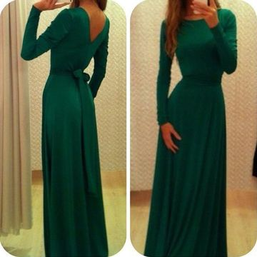 Cheap Modest A-line Long Sleeves Zipper Bow(s) Prom Dresses 2018 Green