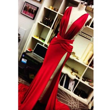 Cheap Long Sexy Red Sheath V-Neck Sleeveless Zipper Draping Prom Dresses 2018 For Short Girls