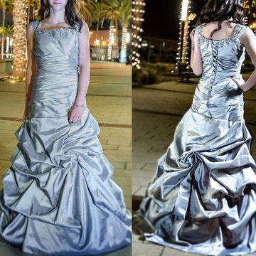 Cheap Long Modest Silver Sheath Straps Sleeveless Beading Prom Dresses 2018