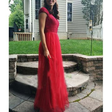 Cheap Modest Long Red A-line Prom Dresses 2018 Tulle