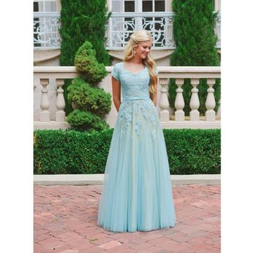 Cheap Modest Blue Long A-line Prom Dresses 2018
