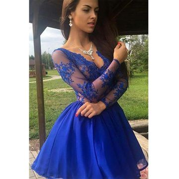 Cheap Cute A-line Sequins Prom Dresses 2018 V-Neck Long Sleeves Chiffon Sexy For Short Girls