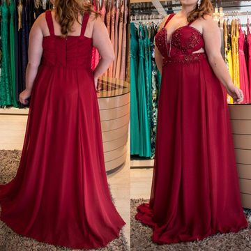 Cheap Long Plus Size Junior Burgundy A-line Prom Dresses 2018 Sleeveless Chiffon