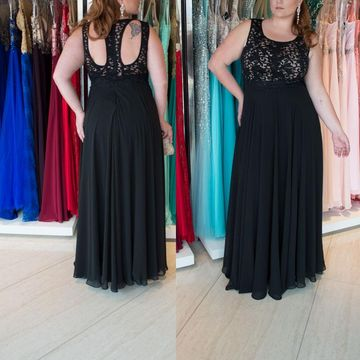 Cheap Long Plus Size Black A-line Prom Dresses 2018 Sleeveless Chiffon