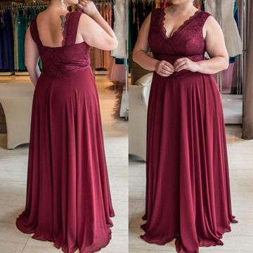 Cheap Long Plus Size Burgundy A-line Prom Dresses 2018 V-Neck Sleeveless Chiffon Lace