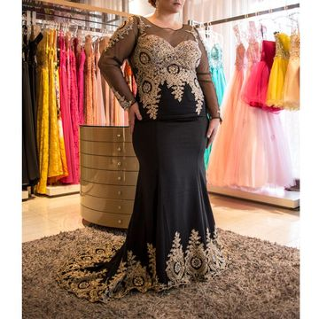 Cheap Long Plus Size Black Prom Dresses 2018 Long Sleeves
