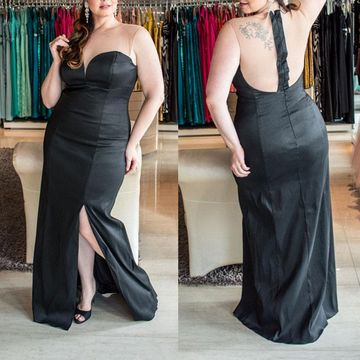 Cheap Long Plus Size Black Sheath Prom Dresses 2018 Sleeveless
