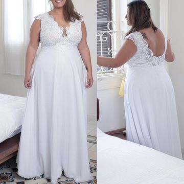 Cheap Long Plus Size Sexy White A-line Prom Dresses 2018 Open Back Chiffon Lace