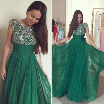 Long Modest Green A-line Capped Sleeves Zipper Beading Prom Dresses 2019 Chiffon