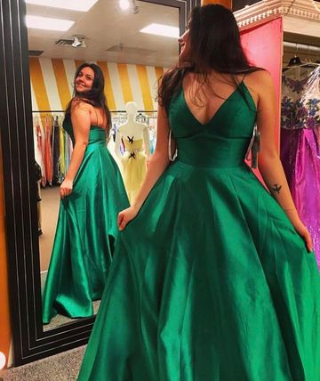 49%OFF Long Simple Green A-line Spaghetti Straps Sleeveless Prom ...