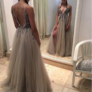 Long Grey Sexy A-line V-Neck Sleeveless Backless Crystal Detailing Prom Dresses 2018 Open Back