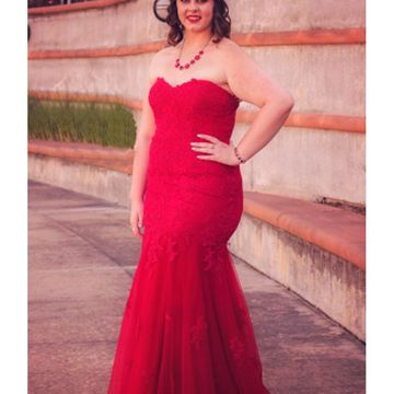 Red Long Prom Dresses 2018 Mermaid Strapless Sleeveless Plus Size