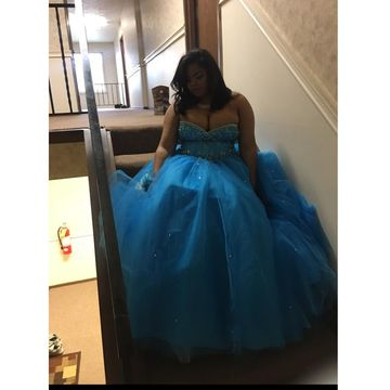 Blue Long Prom Dresses 2018 A-line Sleeveless Sexy Plus Size