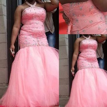 Long Prom Dresses 2018 Mermaid Halter Sleeveless African Plus Size