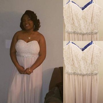 Long Prom Dresses 2018 A-line Strapless Sleeveless Chiffon Lace African Plus Size